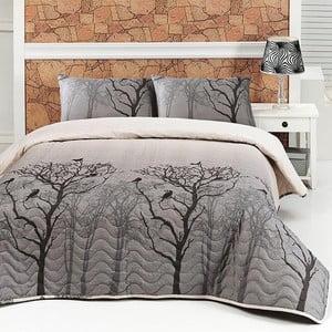 Sada prešívanej prikrývky na posteľ a obliečky na vankúš Bird Grey, 160x220 cm