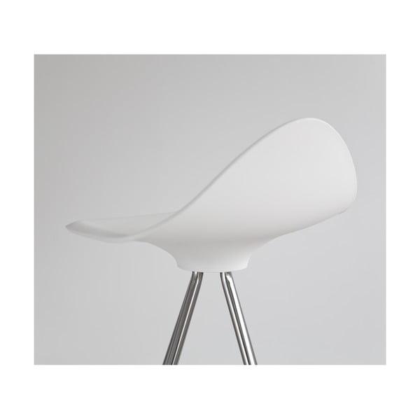 Biela stolička s chrómovanými nohami Stua Onda, 76 cm