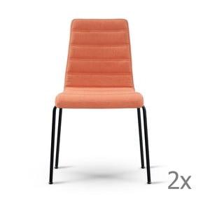 Sada 2 oranžových stoličiek s čiernymi nohami Garageeight