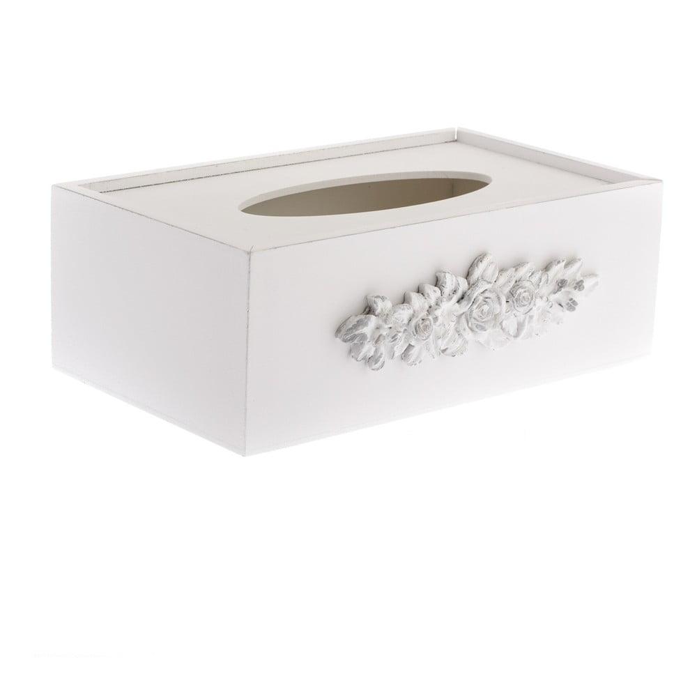 Biela drevená krabička na vreckovky Dakls Romance