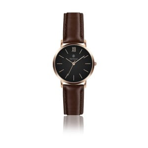 Dámske hodinky s tmavohnedým koženým remienkom Paul McNeal, ⌀3,6cm