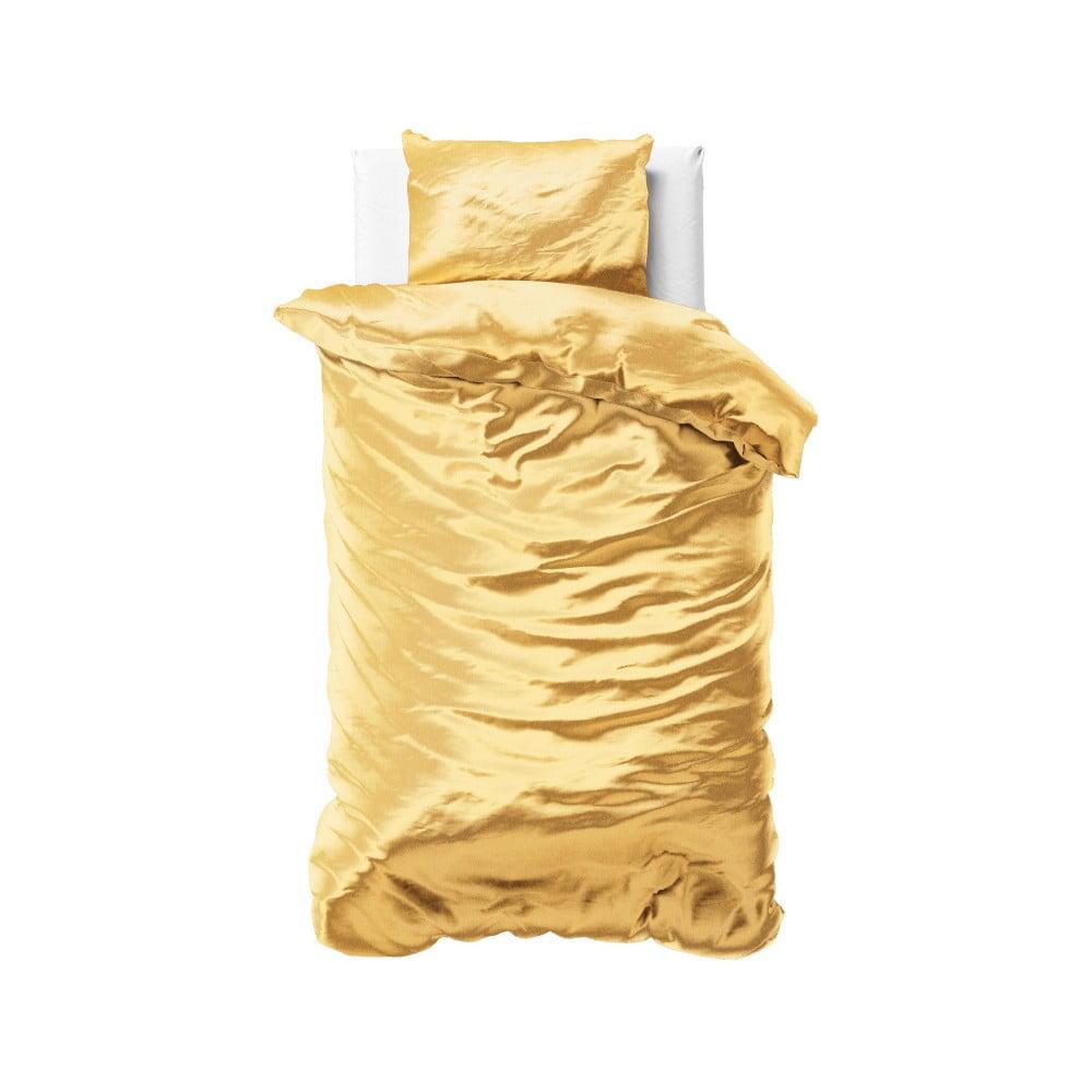 Žlté obliečky zo saténového mikroperkálu na jednolôžko Sleeptime, 140 x 220 cm