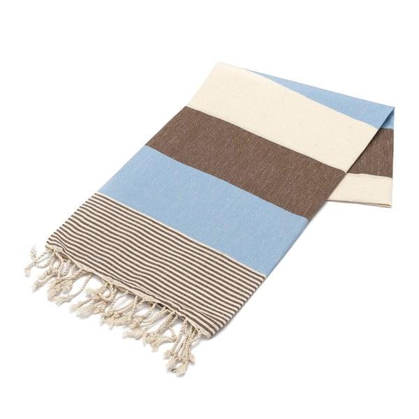 Hammam osuška American Stripes Brown & Blue, 100 x 180 cm