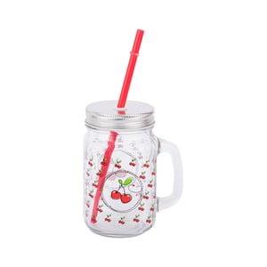 Sklenený pohár so slamkou Tantitoni Cherry, 475 ml