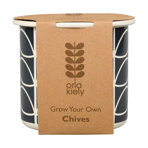 Sada kvetináča so semienkami pažítky Orla Kiely Grow Your Own