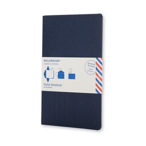 Tmavomodrý zápisník v obálkovej väzbe Moleskine Postal L