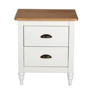 Biely nočný stolík z borovicového dreva SOB Irelia