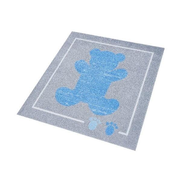 Detský modro-sivý koberec Hanse Home Kiddy Medvedík, 100×100cm