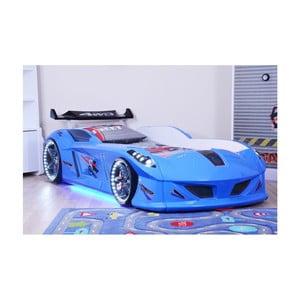Modrá detská posteľ v tvare auta s LED svetlami Speedy, 90 × 190 cm
