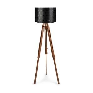 Voľne stojaca lampa s čiernym tienidlom Homitis Retro