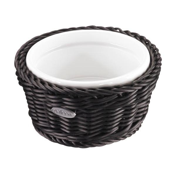 Porcelánová servírovacia miska v košíku Korb Round, tmavá
