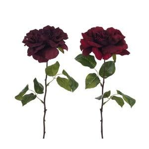 Sada 2 umelých ruží s lístkami J-Line Auberg