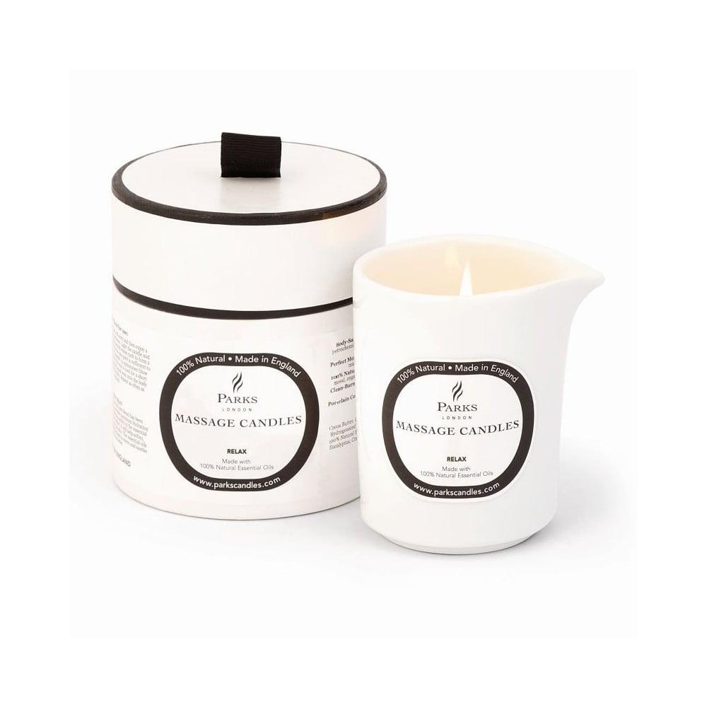 Masážna sviečka s vôňou levandule a harmančeku Parks Candles London Relax and De-Stress, 50 hodín horenia