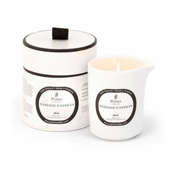 Masážna sviečka s vôňou levandule a harmančeku Parks Candles London Relax and De-Stress, 50hodín horenia