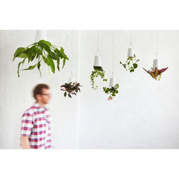 Keramický lietajúci kvetináč Sky Planter, mini biely