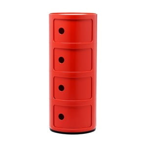 Červený kontajner so 4 zásuvkami Kartell Componibili