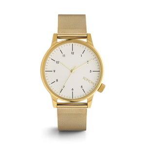 Pánske hodinky s kovovým remienkom v zlatej farbe a bielym ciferníkom Komono Royale