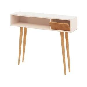 Biely konzolový stolík s detailmi v dekore dubového dreva Garetto Kiogi