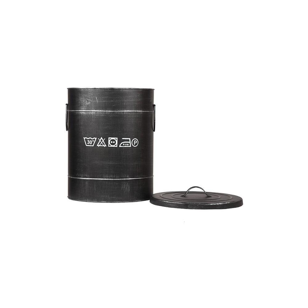 Čierny kovový kôš na špinavé prádlo LABEL51, ⌀ 32 cm