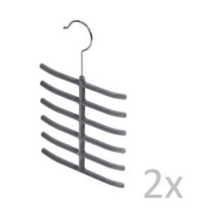 Sada 2 sivých vešiakov na kravaty Bonita Velvet Hangers