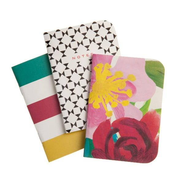 Sada 3 vreckových zošitov Floral