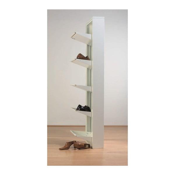 Biela skrinka na topánky s 5 výklopnými policami Kare Design Caruso