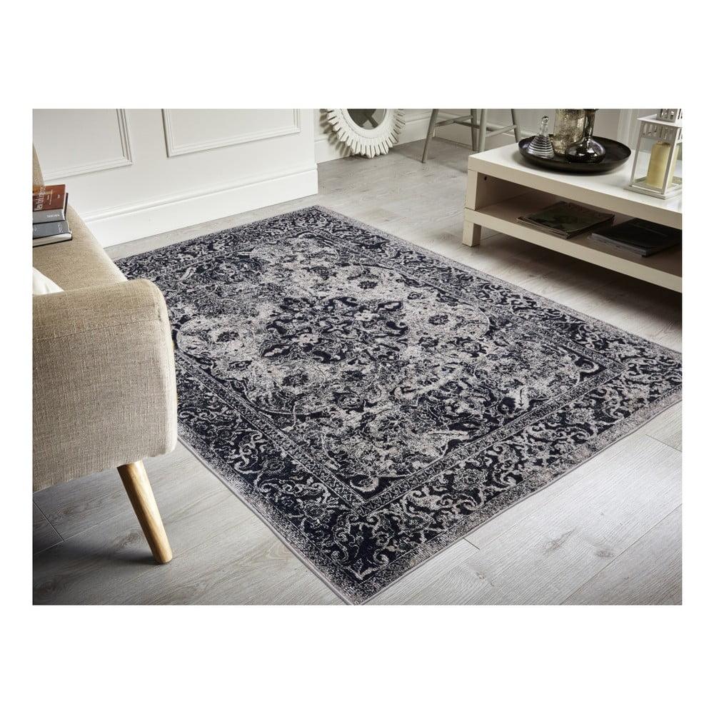 Koberec odolný voči škvrnám Floorita Edessa Grey Black, 160 × 230 cm