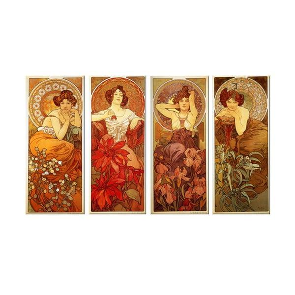 Sada štyroch obrazov Alfons Mucha The Precious Stones, 40x90 cm