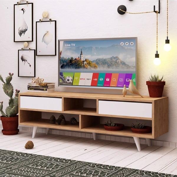 Biely TV stolík s detailmi v dekore dubového dreva Garetto Glasgow