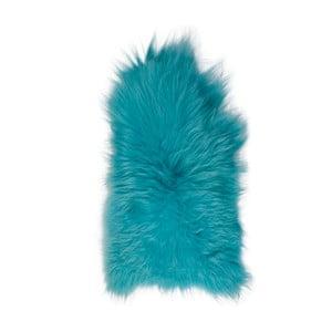 Modrá ovčia kožušina s dlhým vlasom, 90x60cm