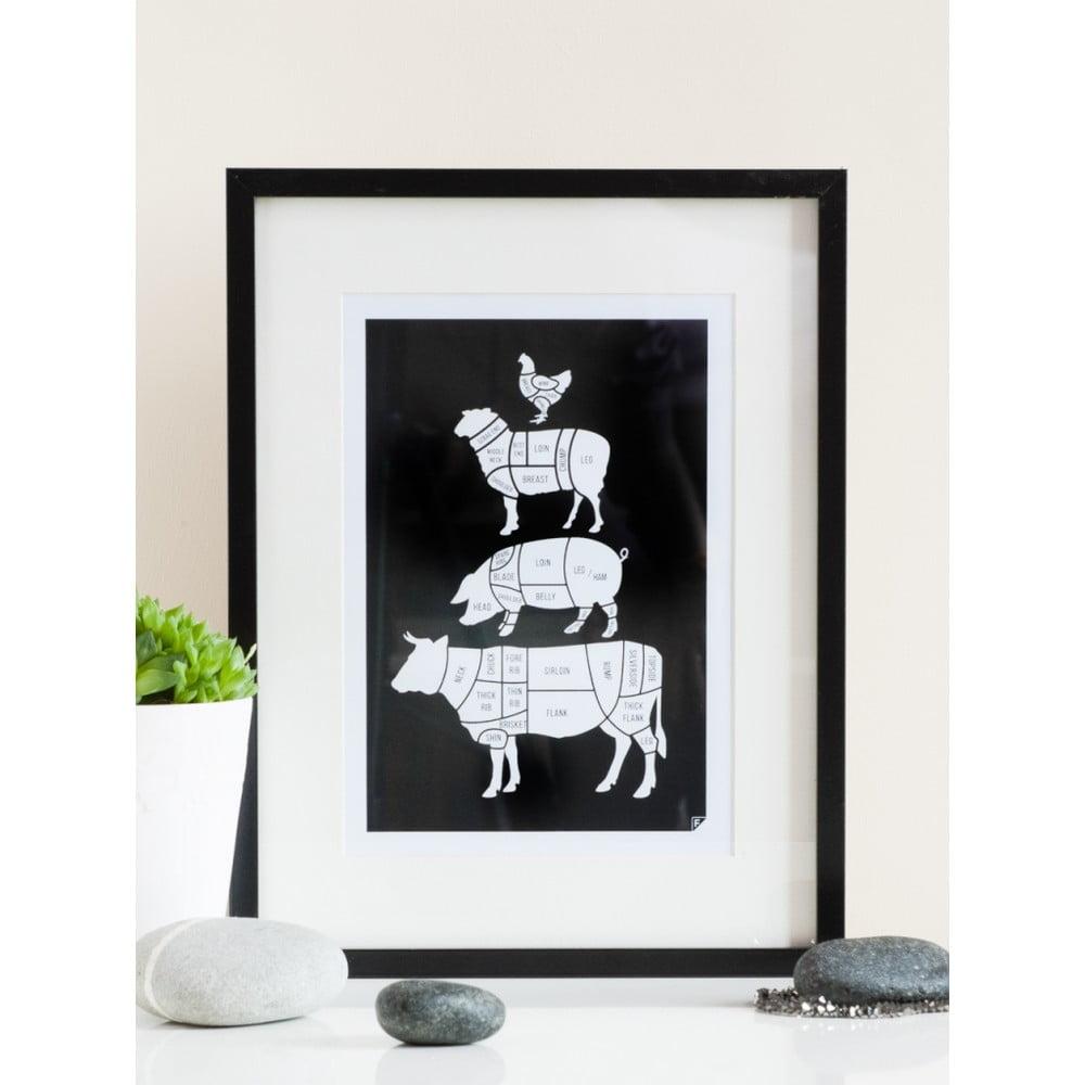 Čierny plagát Follygraph Meat Cuts ca2d71831cf
