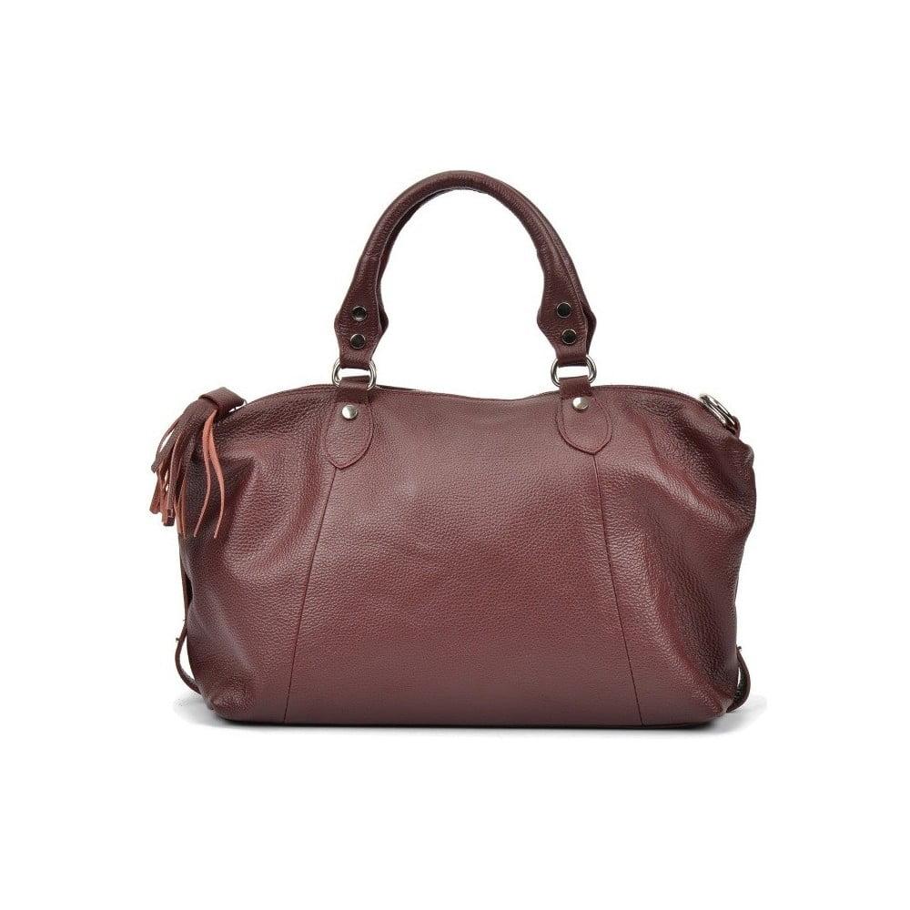 Vínovočervená kožená kabelka Mangotti Debra