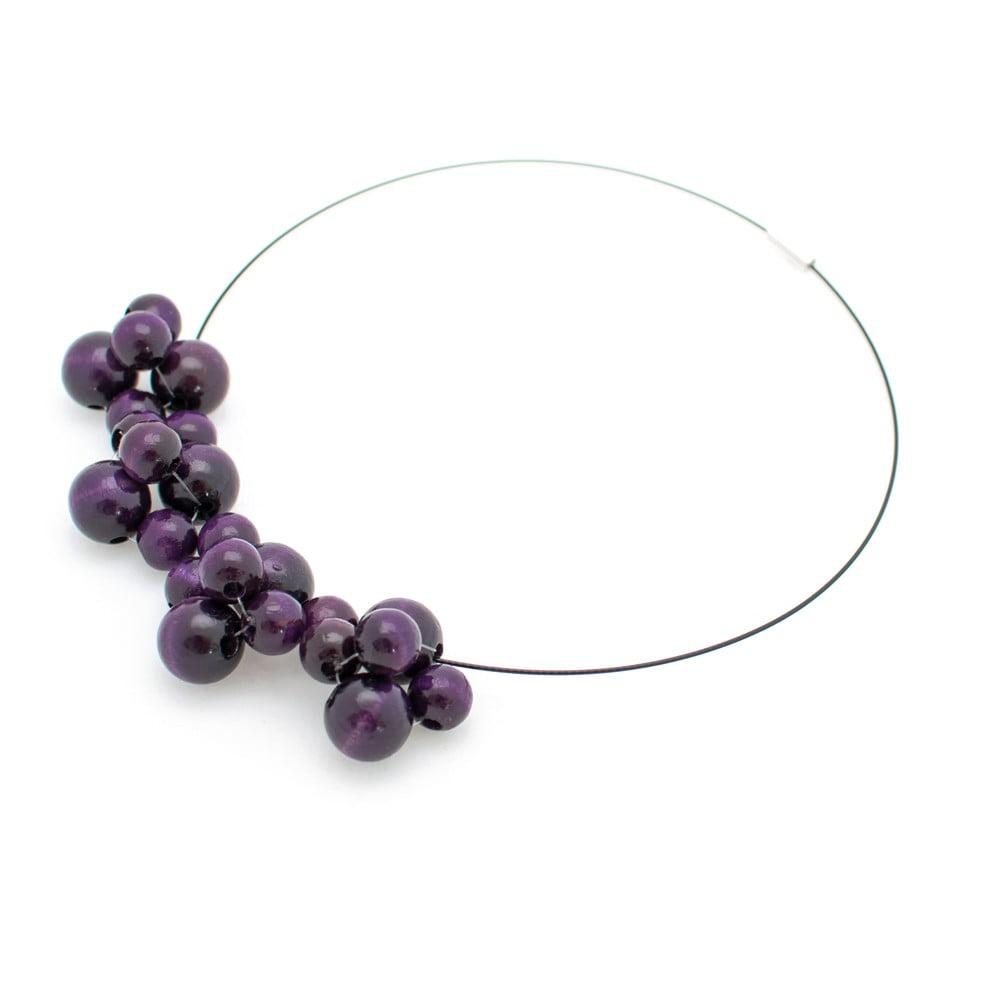 Fialový drevený náhrdelník Ko–ra–le Bubbles