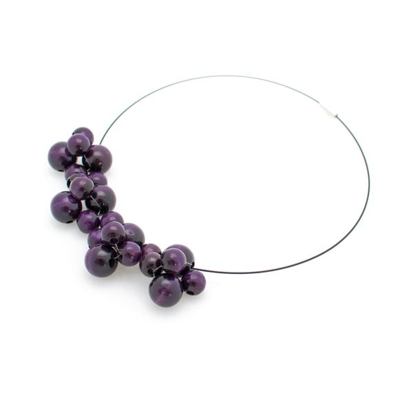 Fialový drevený náhrdelník ko–ra–leBubbles