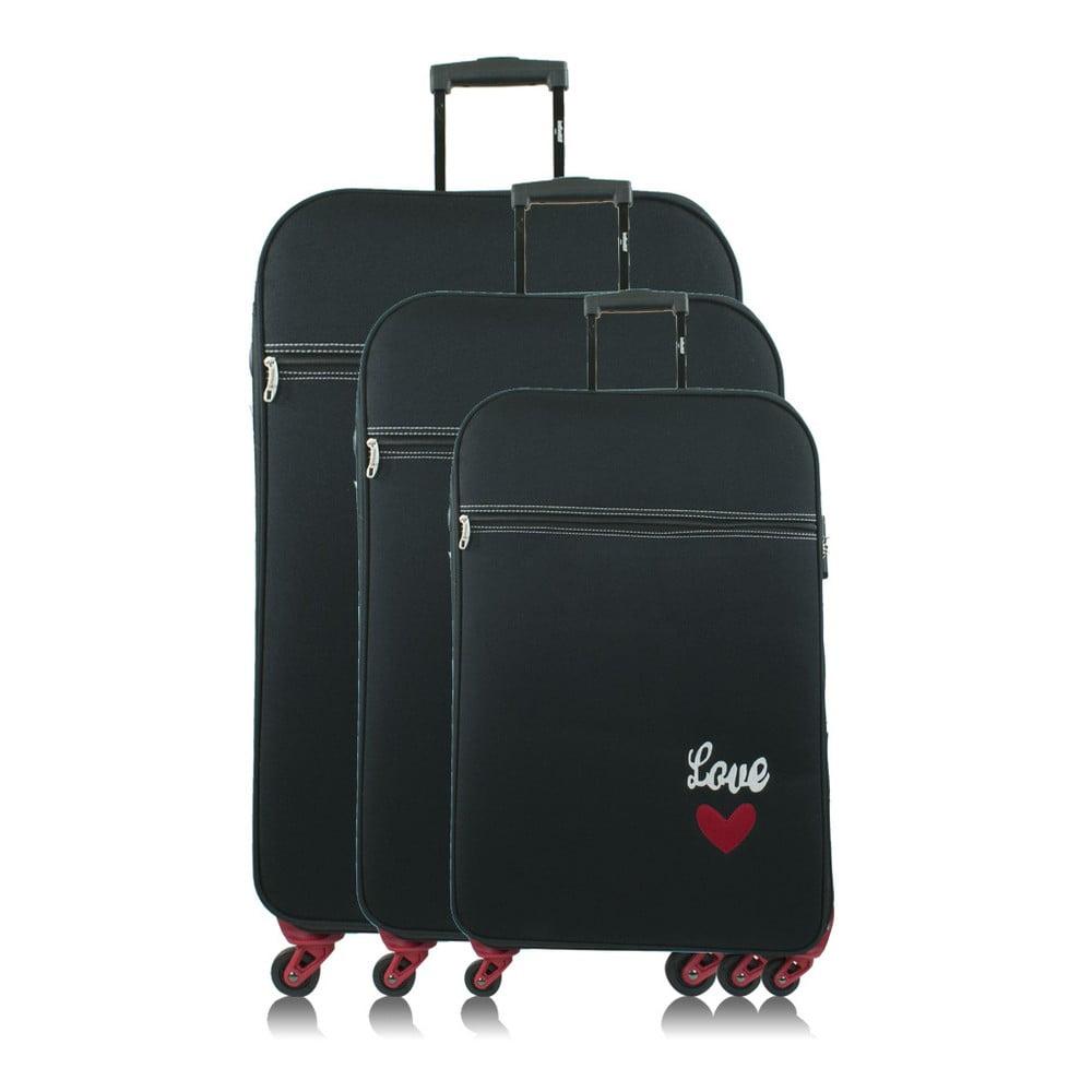 fe09f570c53dd Sada 3 tmavomodrých cestovných kufrov na kolieskach INFINITIF Love
