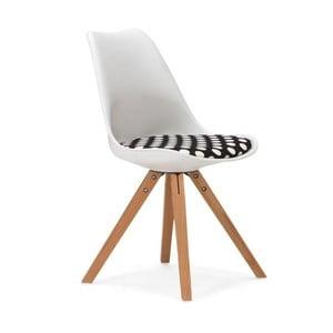 Biela stolička s černo-bielym sedákom SOB Seattle