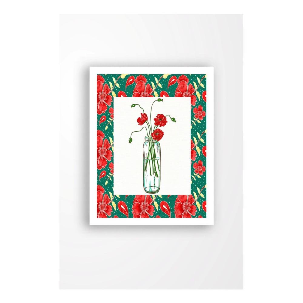 Nástenný obraz na plátne v bielom ráme Tablo Center Red Flowers, 29 × 24 cm