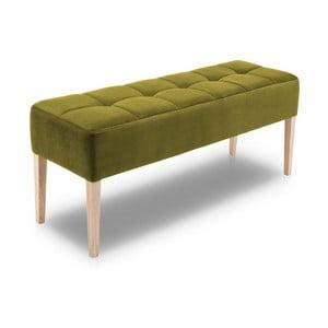 Zelená lavica s dubovými nohami Jakobsen home Marino, dĺžka 132 cm