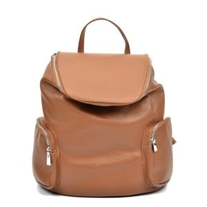 Koňakovohnedý kožený batoh Luisa Vannino Fiona
