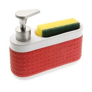Červený dávkovač prostriedku na umývanie a stojan na špongie Versa