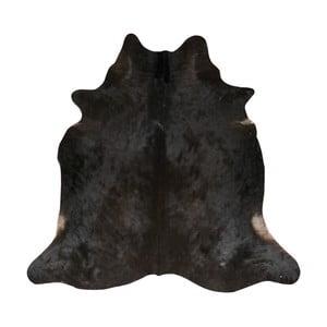 Čierny koberec z hovädzej kože, 190 x 175 cm