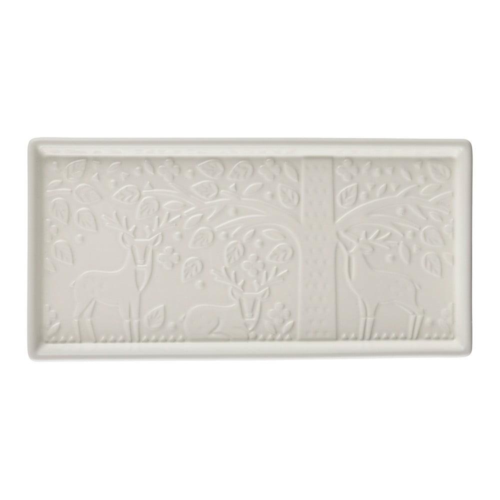 Biely kameninový servírovací podnos Mason Cash In the Forest, 30 x 15 cm
