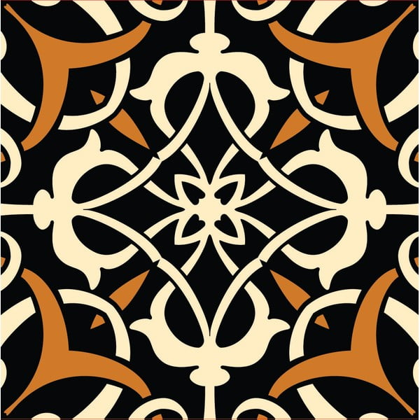 Samolepky Tile Art Brown Ornament
