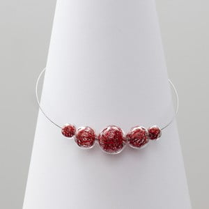Červený sklenený náhrdelník ko–ra–le Wired 6