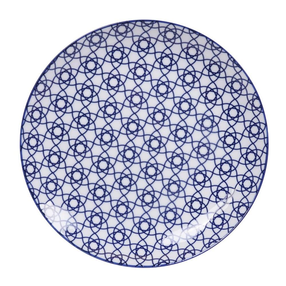 Modrý porcelánový tanier Tokyo Design Studio Stripe, ø 25,7 cm