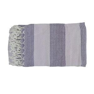 Fialovo-sivá ručne tkaná osuška z prémiovej bavlny Alya, 100×180 cm