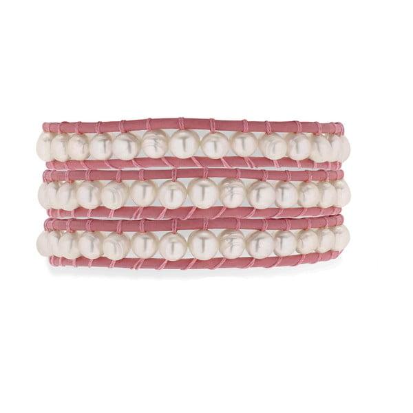 Ružový kožený náramok s perlami Nova Pearls Copenhagen Néreus