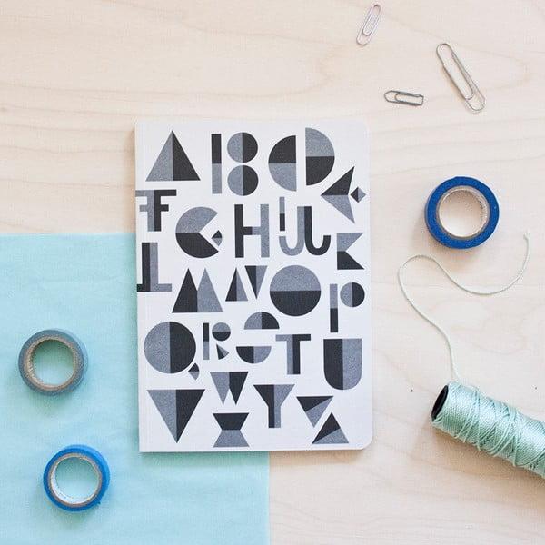 Sivý zápisník Michelle Carlslund Alphabet