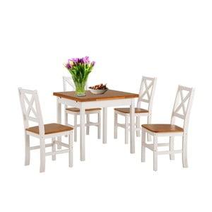 Set bieleho jedálenského stola a 4 stoličiek z masívneho dreva Støraa Marlon