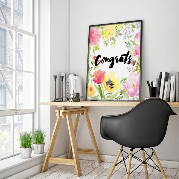 Plagát s kvetmi Congrats, 30 x 40 cm